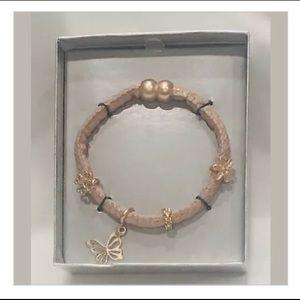 🌺Super Cute Pink Fabric Wrap Butterfly Bracelet